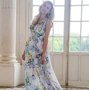 Seraphine Floral Silk Maternity Dress